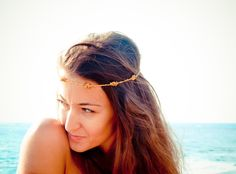 Boho Chic Mustard gold brown beaded crochet headband strand. Versatile necklace / bracelet / anklet / hair band. tbteam spteam. $35.00, via Etsy.