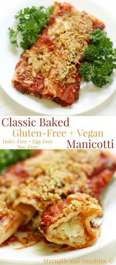 """Classic Baked Gluten-Free + Vegan Manicotti (Soy-Free) 