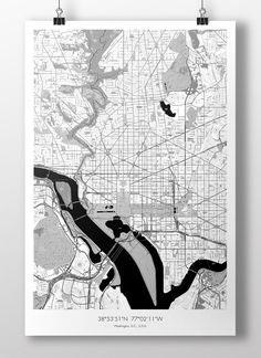 "Washington, D.C. Map Poster BW 24""x36"""