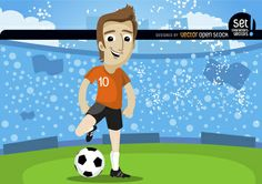Cartoon Football player in soccer field, kicking the ball with the crowd behind him. Nice design for any football promo. Under Commons 3.0. Attribution License.
