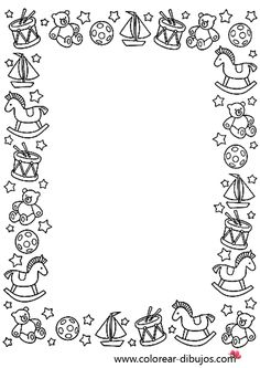 Stationery - Toys around the border - dibujo de bordes de navidad con juguetes de navidad para colorear e imprimir