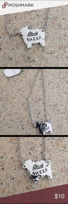 🐑NWT Silver alloy black sheep necklace🐑 Silver alloy new with tag black sheep necklace 16 inch chain baa baa black sheep Jewelry Necklaces