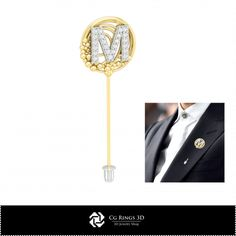 3D CAD Brooch With Letter M
