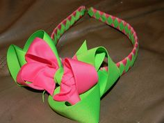 Neon Green and Hot Pink Boutique ribbon Woven by HairbowsNMore, $12.00