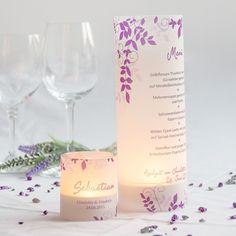 """Windlicht """"Ranken"""" als Menükarte und als Platzkarte für die Hochzeit. #Windlichttischkarten"""