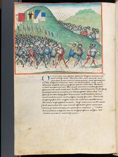 Blue armored person, gun with mechanism?  Bern, Burgerbibliothek, Mss.h.h.I.1, f. 308 – Diebold Schilling, Amtliche Berner Chronik, vol. 1