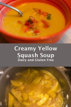 Yellow Squash Soup - Cricket's Confections Healthy Soup Recipes, Chili Recipes, Healthy Eats, Delicious Recipes, Salad Recipes, Yummy Food, Yellow Squash Soup, Clean Eating Soup, Dairy Free Snacks