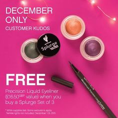 Wow look a this! A liquid eyeliner FREE with a set of 3 splurge eye creams. Choose any colour. #love #glitter #eye creams #creasefree #eyes #makeup  #face #dreamofyounique #instagood #igers #picoftheday #christmas #presents #