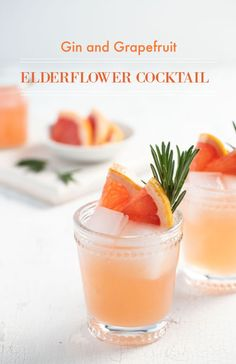 Sweet, tart and floral, this easy gin, grapefruit and elderflower cocktail is a bright spot of sunshine in winter! #gincocktails #grapefruit