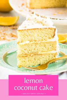 Lemon coconut cake! This recipe features soft, moist coconut cake layers filled with lemon curd and finished with the best coconut buttercream frosting. Homemade coconut cake is so much better than store bought and this will be your go to recipe. It's delicious for Easter, Mother's Day, or any day in the spring and summer! Coconut Buttercream, Lemon And Coconut Cake, Toasted Coconut, Buttercream Frosting, Dessert Ideas, Dessert Recipes, Lemon Drop Cookies, Dessert From Scratch, Mango Cake