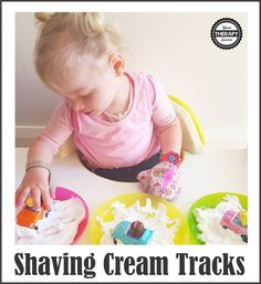 Shaving Cream Tracks - Fine Motor and Sensory activity to encourage crossing midline, tactile input and visual tracking. Physical Activities For Preschoolers, Sensory Activities For Autism, Toddler Sensory Bins, Motor Activities, Infant Activities, Infant Sensory, Toddler Sense, Toddler Fun, Baby Sensory Bottles