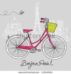 Riding a bike in style, Romantic postcard from Paris by alicedaniel, via ShutterStock