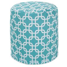 Majestic Home Goods 85907239034 Teal Links Small Pouf