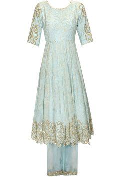 Sky blue skirt lehenga set available only at Pernia's Pop Up #oeriaspopupshop #festive #saumyaandbhavini #shopnow #newcollection