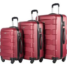 Lightweight yet extremely durable ABS material. Super silent and multi-directional spinner wheels rotate 360 degrees for easy maneuve Best Luggage, Luggage Sets, Luggage Reviews, Lightweight Luggage, Spinner Suitcase, Leather Luggage, Business Travel, Deep, Totes