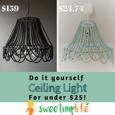Learn how to make a beaded ceiling light for under $25 dollars. The idea came to me when I saw an old Lampshade in our local thrift store...