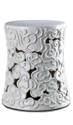 Garden Stools, Side Tables, White Cloud, so decorative, over 3,000 beautiful limited production interior design inspirations inc, furniture, lighting, mirrors, tabletop accents and gift ideas to enjoy pin and share at InStyle Decor Beverly Hills Hollywood Luxury Home Decor enjoy & happy pinning