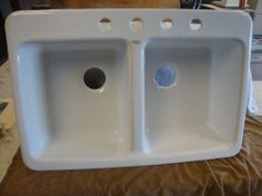 Ceco White Cast Iron Kitchen Kitchen Sink Equal Double Basin 33 x 22 drop in NOS