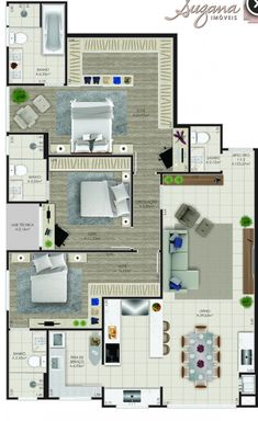 To see more visit 👇 3d House Plans, Model House Plan, House Layout Plans, Family House Plans, Bedroom House Plans, Dream House Plans, House Layouts, Small House Plans, Home Building Design