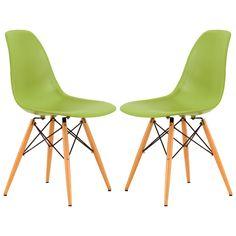 LeisureMod Dover Plastic Molded Side Chair Wood Dowel Legs