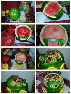 Watermelon carriage fruit bowl for baby shower | My own pins | Pinterest