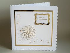 Square Floral Anniversary Card with by LornaFineCustomCards
