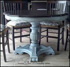 Annie Sloan Louis Blue chalk paint with brown wax finish.....coat 4-5 with poly