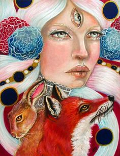 tammy mae moon art | Woman fox rabbit surreal portrait 8x10 fine art print