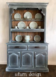 Grey farmhouse hutch painted soap stone look rustic hutch #affiliate #paintedfurniture