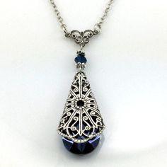 Blauer Kristall Kette Kristall Schmuck von TheArtofCrystal auf Etsy