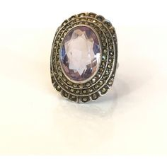 Vintage Art Deco Sterling Silver Genuine NATURAL Amethyst Marcasite... ($95) ❤ liked on Polyvore featuring jewelry, rings, antique amethyst ring, cocktail rings, antique vintage rings, gemstone rings and sterling silver marcasite ring
