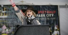 Park City • A massive snowstorm and snarled traffic couldn't shut down the Respect Rally — not with Jane Fonda, Gloria Allred and others firing up the crowd. Jane Fonda, Gloria Allred, Rally, Spotlight, Anniversary, Park City, Actors, Entertainment, Activists