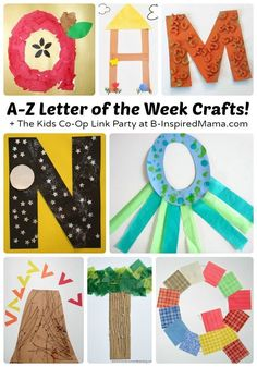 A to Z - Letter of the Week Crafts - B-Inspired Mama Letter of the Week Crafts [From A to Z!] Perfect Alphabet Activities for Preschool or Homeschool Kindergarten, Too! If you absolutely love arts and crafts a person will enjoy this website! Preschool Literacy, Preschool Letters, Homeschool Kindergarten, Learning Letters, Preschool Art, Fun Learning, Homeschooling, Learning Spanish, Letter H Activities For Preschool
