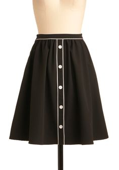 City Outline Skirt - Work, Vintage Inspired, 50s, Mid-length, Black, White, Buttons, Trim, A-line
