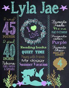 Custom mermaid birthday board mermaid chalk by MichelleRayeDesigns
