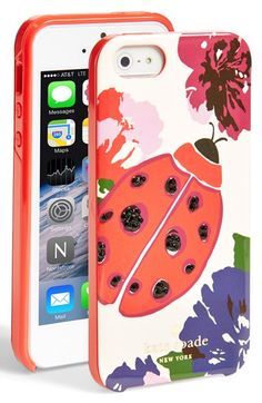 "Free shipping and returns on kate spade new york 'ladybug' iPhone 5 & 5s case at Nordstrom.com. <p><B STYLE=""COLOR:#990000"">Pre-order this style today! Add to Shopping Bag to view approximate ship date. You'll be charged only when your item ships.</b></p><br>Jet-black crystals and vivid colors make kate spade's ladybug case a cheery choice to protect your tech."