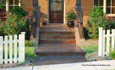 stained and stamped front porch concrete steps