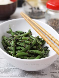 """Recipe: Ingen Goma Ae, Fine French Beans with Black Sesame Dressing (adapted from the Cookbook """"Harumi's Japanese Cooking"""")