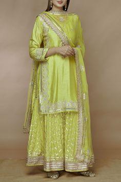 indian designer wear Gopi-vaid Buy Tussar Silk Kurta Sharara Set by Gopi Vaid at Aza Fashions Shadi Dresses, Pakistani Dresses, Indian Dresses, Sharara Designs, Designer Party Wear Dresses, Indian Designer Outfits, Indian Wedding Outfits, Indian Outfits, Bridal Outfits