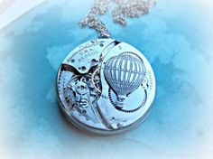 Steampunk Statement Antique Watch Mechanism & Hot Air Balloon Necklace - product images