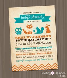 Woodland Baby Shower Invitation. Order your personalized invitation at Boardman Printing, visit https://www.facebook.com/BoardmanPrinting/