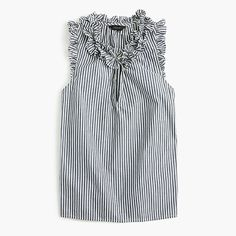 J.Crew National Stripes Day: women's ruffle top in striped cotton poplin.