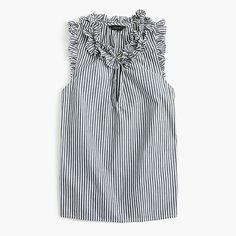 J.Crew National Stripes Day: women's ruffle top in striped cotton poplin.