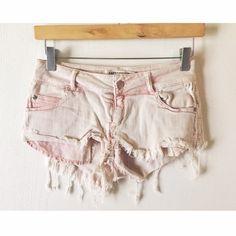 Brandy Melville Light Pink Denim Shorts Brandy Melville light wash pink denim shorts with distressed detail. No longer sold in stores. Size Euro 38 = 25/26. Brandy Melville Shorts