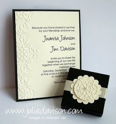 stampin up wedding invitations gallery | Stampin' Up! Wedding Invitation Julie Davidson ... | Invitation Ca… Like the flower and side pattern