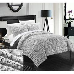 Chic Home 3 Piece Caimani NEW Faux FUR Collection! With Mink like backing in Caimani Animal Skin Design Queen Comforter Set Grey, Gray