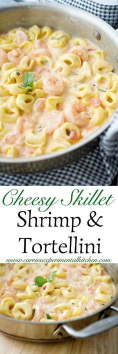 Cheesy Skillet Shrimp & Tortellini made with jumbo shrimp combined with cheese tortellini in a cheesy tomato basil Alfredo sauce. Fish Recipes, Seafood Recipes, Pasta Recipes, Dinner Recipes, Cooking Recipes, Recipies, Recipes With Cheese Tortellini, Recipes With Shrimp, Spinach Recipes