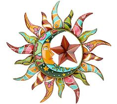 Plow & Hearth Talavera Sun & Moon Wall Art -give your outdoor space a shot of Southwestern charm.