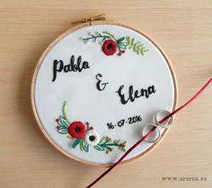 Wedding Art Embroidery Hoop. Modern Embroidery. Porta Alianzas Bastidor. www.arorua.es