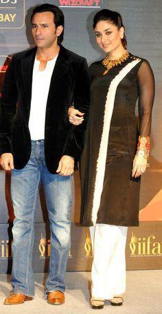 Saif Ali Khan and Kareena Kapoor at the IIFA Awards press conference. #Style #Bollywood #Fashion #Beauty